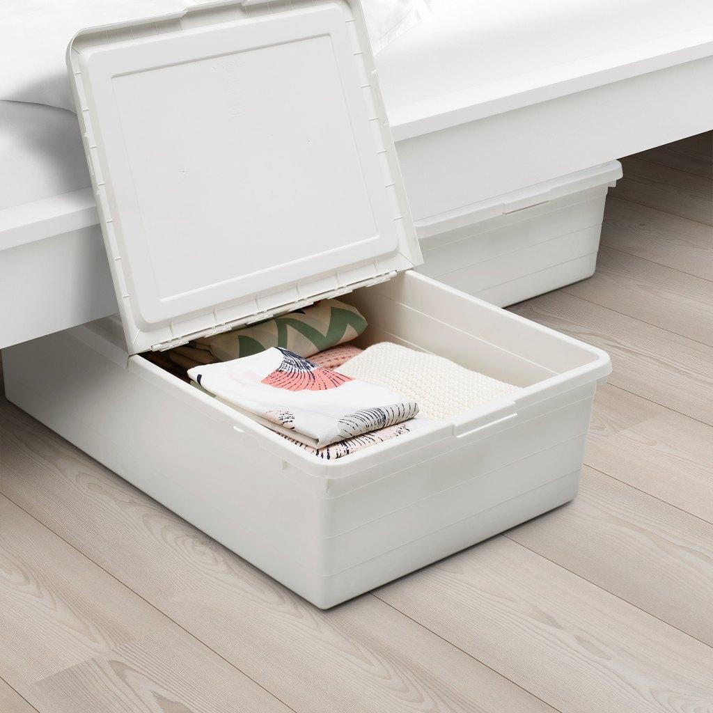 """SOCKERBIT Storage box with lid, white19 ¾x30 ¼x7 ½ """" (50x77x19 cm)  https://www.ikea.com/ca/en/p/sockerbit-storage-box-with-lid-white-20411524/"""